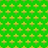 Ostatki bezszwowy wzór z Fleur De Lis lub lelui ikoną Płascy elementy żółty kolor na zielonym tle Świąteczny il Fotografia Stock