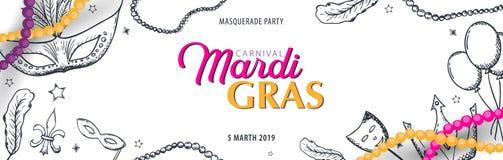 Ostatki karnawału przyjęcie maskarada Gruby Wtorek, festiwal również zwrócić corel ilustracji wektora ilustracji