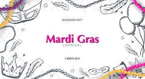 Ostatki karnawału przyjęcie maskarada Gruby Wtorek, festiwal również zwrócić corel ilustracji wektora ilustracja wektor