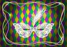 Ostatki maskują z piórkami na barwionej koralik ramie Wektorowa ilustracja EPS10 ilustracja wektor
