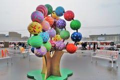Ostatki tygodnia Naleśnikowe dekoracje w Moskwa obraz stock