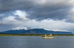 Ostatni nadzieja dźwięka krajobraz, Puerto Natales, Chile zdjęcie stock