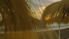 Ostatni promienie światło słoneczne na opustoszałej egzotycznej tropikalnej plaży zdjęcie wideo