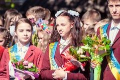 Ostatnia dzwonkowa Lutsk stopnia 11th szkoła średnia 14 29 05 2015 pogodnych letnich dni zdjęcia stock
