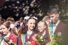 Ostatnia dzwonkowa Lutsk stopnia 11th szkoła średnia 14 29 05 2015 pogodnych letnich dni Fotografia Royalty Free