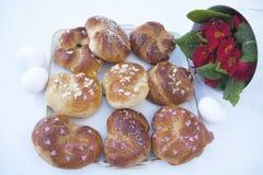 Ostbäckerei - heiße Querbrötchen Stockbild