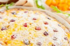 Ostcasserole med cranberriescloseupen Arkivfoto