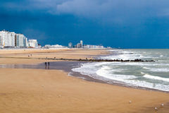 Ostend Beach before the storm Royalty Free Stock Images