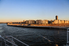 Ostend city in the rays of the sunset Royalty Free Stock Image