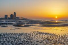 Ostend plaża przy zmierzchem, Flandryjskim zdjęcie royalty free