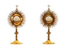 Ostensoir liturgique d'or de navire Photo stock
