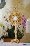 Ostensorial adoration in the catholic church Stock Images
