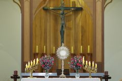 Ostensorial adoration in the catholic church. Ostensory for worship at a Catholic church ceremony Stock Photography