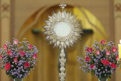 Ostensorial adoration in the catholic church. Ostensory for worship at a Catholic church ceremony Stock Photo