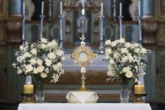 Ostensorial adoration in the catholic church. Ostensory for worship at a Catholic church ceremony Royalty Free Stock Photography