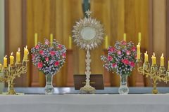 Ostensorial adoration in the catholic church. Ostensory for worship at a Catholic church ceremony Royalty Free Stock Photos