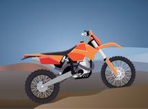 Ostenta a bicicleta do enduro para viagens extremas através das montanhas Projeto da tecnologia contra o contexto do MOU Fotografia de Stock