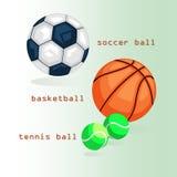 Ostenta bolas Futebol, basquetebol, tênis Foto de Stock Royalty Free
