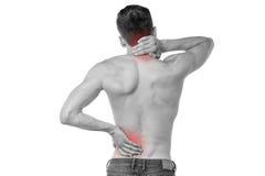 Ostenta a dor de ferimento para trás imagens de stock