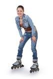 Ostenta a menina com patins de rolo fotos de stock royalty free