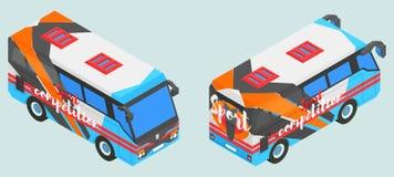 Ostenta o ônibus isométrico em duas versões complexas Fotos de Stock Royalty Free