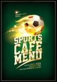 Ostenta o conceito do cartão do menu do café com bola de futebol Foto de Stock Royalty Free
