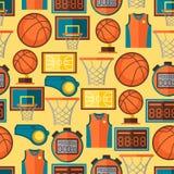 Ostenta o teste padrão sem emenda com ícones do basquetebol dentro Foto de Stock Royalty Free