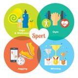 Ostente ícones lisos do conceito do vencedor do gym, alimento saudável, medidor Fotografia de Stock Royalty Free