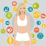 Ostente e faça dieta, um grupo de ícones com pontas para a perda de peso, ilustração lisa do vetor ilustração do vetor