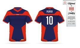 Ostente o t-shirt ou o molde do jérsei de futebol para o clube de esporte Zombaria da camisa do Sportswear acima Foto de Stock