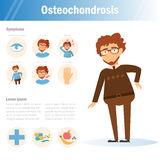 Osteochondrosis Homme Vecteur cartoon Image stock
