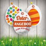 Oster Angebot Eggs los pernos de la hierba de las etiquetas engomadas del precio Foto de archivo libre de regalías