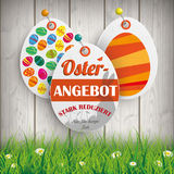 Oster Angebot Eggs Price Stickers Grass Pins Royalty Free Stock Photo