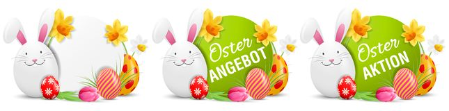 Oster Angebot, Oster Aktion Easter Action Offer Buttons Set with Easter bunny and painted Easter eggs isolated vector