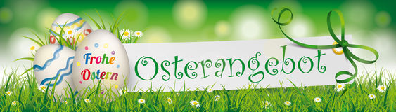 Osterangebot Easter Egg Paper Green Ribbon Ostern Header. German text Frohe Ostern, Osterangebot, translate Happy Easter, Easter Offer Stock Photos