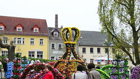 Osterbrunnen (Easter fountain) decorated in the middle of city Berga/Elster, Thuringia stock video