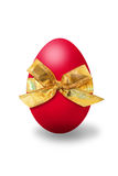 Osterei. Red easter egg with a bow on white background vector illustration