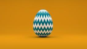 Osterei 3D mit den weißen und blauen Streifen auf orange Hintergrund