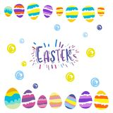 Osterei-Geschenkpostkartengrüße mit Ostern vektor abbildung