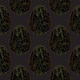 Osterei goldenes nahtloses Muster Handgezogener abstrakter Frühlings-Feiertagshintergrund in der modernen Art für Oberflächenentw stockfotografie