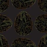 Osterei goldenes nahtloses Muster Handgezogener abstrakter Frühlings-Feiertagshintergrund in der modernen Art für Oberflächenentw stockbild