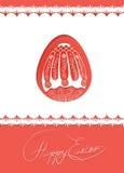 Osterei-Kartendesign mit Volksdekoration Lizenzfreie Stockfotos