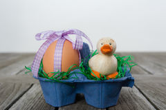 Osterei mit einem Band und eine kleine Ente in einem Karton Stockfoto