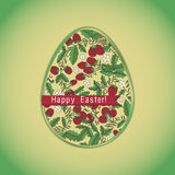 Osterei mit Erdbeere, grüne Grußkarte Stockbild