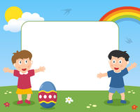 Osterei-u. Kinderfoto-Feld Stockbilder