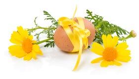 Osterei und gelbe Blumen Stockfoto