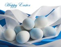 Ostereier in den blauen Tönen Stockfotografie