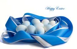 Ostereier in den blauen Tönen Lizenzfreies Stockbild