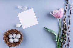Ostereier in den Nest- und Tulpenblumen auf blauem Hintergrund mit Karte Fröhliche Ostern Draufsicht mit Kopienraum lizenzfreie stockfotografie