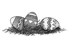 Ostereier in der Grasillustration, Zeichnung, Stich Stockfoto